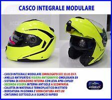 Casco modulare Integrale giallo Fluo Taglia L uomo donna moto scooter visiera