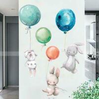Cute Grey Bunny Ballet Rabbit Wall Sticker For Kid Room Baby Nursery Wall C0L6