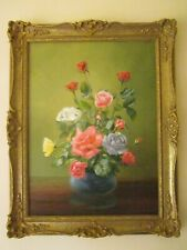 Large Old Floral Roses Still Life Oil Painting ERIC ROBERTS Listed Gilt Framed