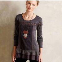Meadow Rue Anthropologie Gray Lace Crochet Ruffle Hem Knit Top Blouse Size M