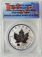 2017 Canada Maple Leaf Reverse Proof 150th Anniv. ANACS RP70 Privy Mark Silver