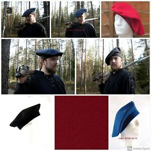 MEDIEVAL TUDOR HAT BONNET BIG ROUND HAT BERET100% WOOL LINED WITH COTTON 1