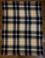 """Vintage Troy Robe 100% Wool Blue Checkered Plaid Blanket 70""""x55"""" EUC"""