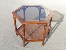 Vintage Mid-Century Modern Six Sided Two Tier Smokey Glass & Cane COFFEE TABLE