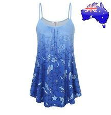 Women's Stars Paisley Gradient Blue Ombré Ruched Tunic Singlet Loose Top 14-16