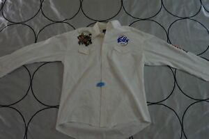 ☕Wrangler Las vegas Helldorado Days Cowboy Rodeo Embroidered Ivory Long Sleeve L