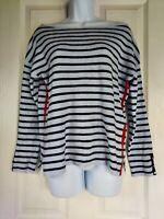 Womens Zara Jumper size small blue black stripe casual stretch vgc