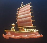 Vtg Signed HATTIE CARNEGIE Faux Coral Lucite Chinese Junk Boat Brooch
