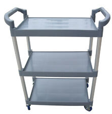 3 Tray Service Cart Rolling Storage Tool Cart with Plastic Tray Aluminum Tube