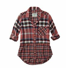 Abercrombie & Fitch Women Shirt S Pink Mixed Plaid Print Long Sleeve Flannel New