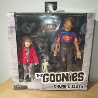 """NECA THE GOONIES (1985) SLOTH & CHUNK 8"""" CLOTHED ACTION FIGURE 2 PACK SET 20cm"""
