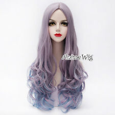 Lolita Purple Mixed Blue Long 75CM Curly Cosplay Party Heat Resistant Full Wig