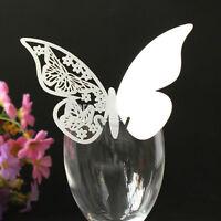 50X Papier Schmetterling Platzkarte Tischkarten NaMenkarte Hochzeit Glas  NEU~
