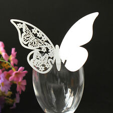 50 Butterfly Wedding Name Place Cards For Wine Glass Laser Cut Pearlescen New