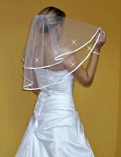 """Nueva camiseta para mujer 2 T blanco/marfil de boda velo codo con peine de 24"""" cristales de Swarovski"""
