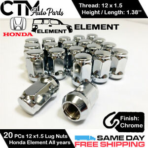 20PC CHROME 12X1.5 BULGE ACORN CLOSED END REPLACEMENT LUG NUTS FOR HONDA ELEMENT