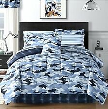 Sky Blue Camouflage Camo Army Boys Twin Comforter Set (6 Piece Bed In A Bag)