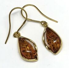 Sterling silver with 18k gold plate rough double GARNET earrings.