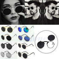 Retro Vintage Steampunk Frame Costume Round Circle Flip Up Clear Lens Sunglasses