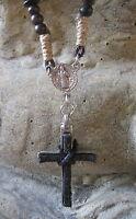 Kreuz Kette Halskette Vintage Kreuzkette Leder braun neu Herrenkette Lederkette