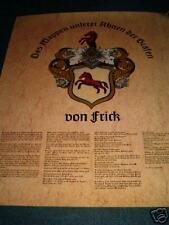 Wappen der Familie Frick auf Glanzpapier gedruckt 40x49