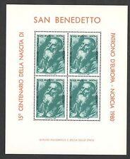FOGLIETTO IPZS ITALIA SAN BENEDETTO DA NORCIA 1980 PATRONO D'EUROPA