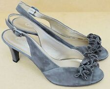 Gabor beige grey suede leather peep toe slingback heels UK 5.5 EU 38.5 BNIB