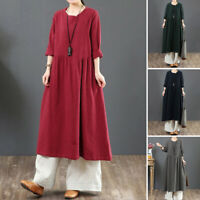 ZANZEA 8-24 Women Long Sleeve Midi Kaftan Abaya Pleated Flare Swing Shift Dress