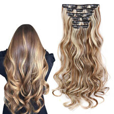 16 Clips Full Head Balayage Ombre Blonde Curly Synthetic Clip In Hair Extensions