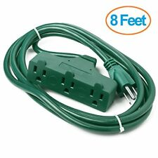 ClearMax 3 Outlet ExtensionCord Indoor/Outdoor Waterproof UL Listed 8ft Green