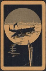 Playing Cards Single Card Old Vintage Art Deco * VENICE GONDOLA BOAT * Picture B