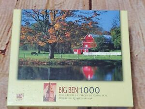 Hasbro Big Ben Wilmont,Ohio Barn Horse Pond 1000 Piece Jigsaw Puzzle New Sealed