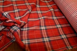 2.5m x 1.5m wide 'RED CHECK' 100% COTTON Reversible Double Layer Fabric, Soft