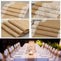 Hot Hessian Burlap Table Runner Weding Flower Lace Natural Rustic Vintage Decor