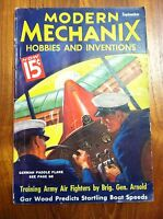 MODERN MECHANIX MAGAZINE SEPT 1936 TRAINING ARMY AIR FIGHTERS BY BRIG GEN ARNOLD