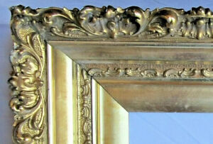 "HUGE ANTIQUE FITS 24"" X 28"" GOLD GILT ORNATE WOOD FRAME FINE ART VICTORIAN"