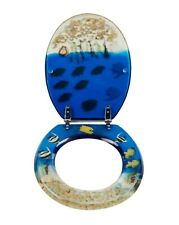 COOKE & LEWIS ANDRANO MULTI-COLOUR BLUE TROPICAL FISH STANDARD CLOSE TOILET SEAT