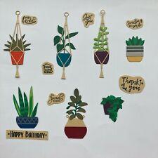 Houseplant Macrame Pot Hangers Sentiments Die Cuts - 14 pcs in Assorted Styles