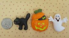 BLACK CAT / JACK-O-LANTERN / GHOST HALLOWEEN PINS  Vintage  HALLMARK  Set of 3
