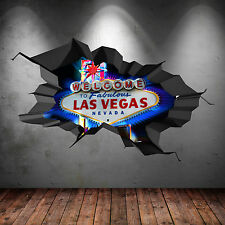 FULL COLOUR LAS VEGAS SIGN CASINO 3D WALL ART STICKER TRANSFER DECAL GRAPHIC 2