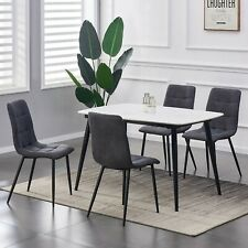 More details for set of 4 faux matte suede leather dining chairs  home & restaurants henri
