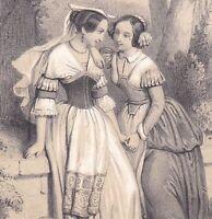 Lithographie XIXe Jeunes Femmes Rome Jeunes Filles Romaines Italie circa 1850