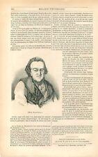 Portrait de Moses Moïse Mendelssohn philosophe juif d'Allemagne  GRAVURE 1847