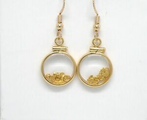 Genuine natural gold nuggets in 14k yellow gold filled dangle earring wire New