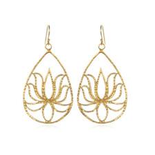 Gold Teardrop Lotus Earrings
