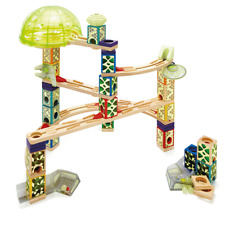 Hape Quadrilla Space City Glow in the Dark Wooden Marble Run Maze Building Set