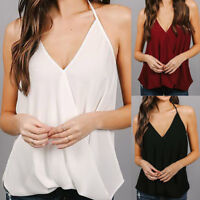 UK Summer Womens Camisole Chiffon Vest Tops Tank Strap Blouse Sleeveless T-shirt