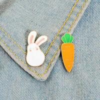 Cartoon Bunny & Carrot Pins Brooches Animal Enamel Pins Lapel Badge Kids Gift