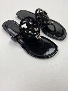 #279 Tory Burch Miller Flip Flop Sandals Size 5.5 M Black Patent