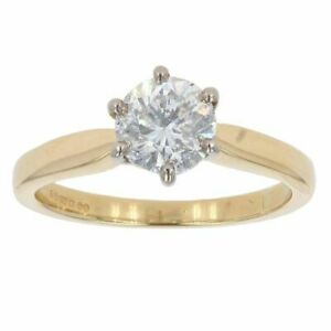 Womens - 18ct Yellow Gold 1.00ct Diamond Solitaire Ring - L